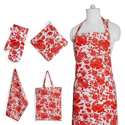 Kitchen Textiles - 100% Cotton Red and White Colour Floral and Leaves Printed Apron (75x65 Cm), Glove (32x18 Cm), Pot Holder (20x20 Cm), Kitchen Towel (65x40 Cm) and Bag (45x35 Cm)