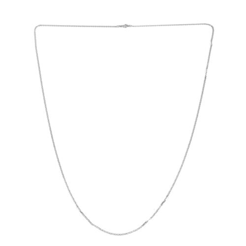 Designer Inspired Rhodium Plated Sterling Silver Diamond Cut Flat Mariner Chain (Size 30), Silver wt 3.30 Gms.