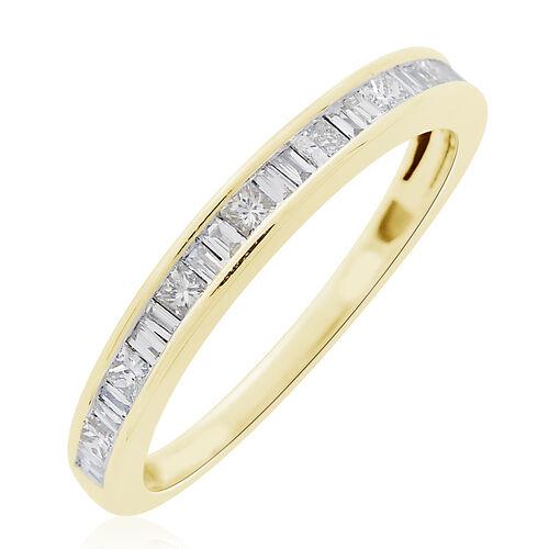 ILIANA 18K Yellow Gold 0.50 Carat IGI Certified Diamond (SI/G-H) Half Eternity Band Ring