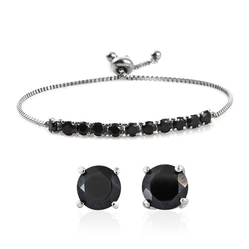 Boi Ploi Black Spinel (Rnd) Adjustable Bracelet (Size 6.5 to 8.5) and Stud Earrings (with Push Back) in Platinum Overlay Stainless Steel 5.000 Ct.