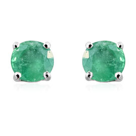 9K White Gold 1 Carat AA Kagem Zambian Emerald (Rnd) Stud Earrings (with Push Back)