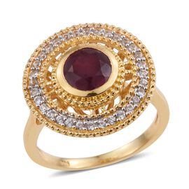 African Ruby (Rnd 2.00 Ct), Natural Cambodian Zircon Ring in 14K Gold Overlay Sterling Silver 2.250 Ct.