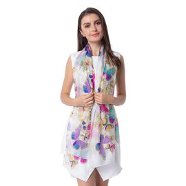 100%  Mulberry Silk White and Multi Colour Butterfly Pattern Scarf (Size 175x53)
