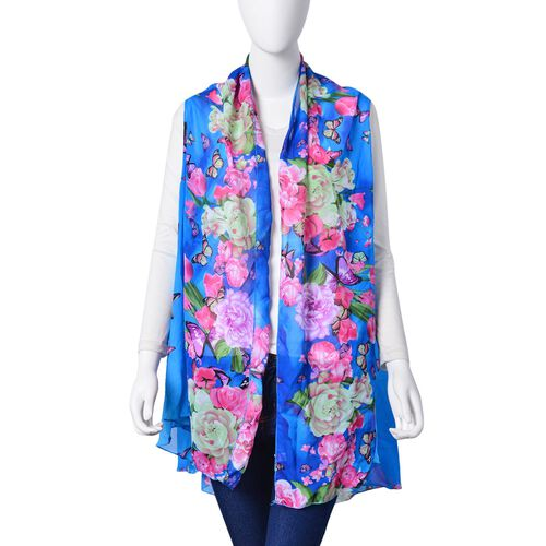 Purple, Pink and and Multi Colour Bloom Floral and Butterfly Pattern Light and Dark Blue Colour Poncho (Free Size)