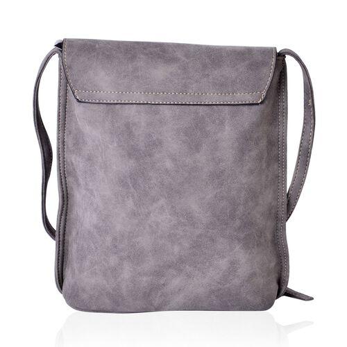 Dark Grey Crossbody Messenger Bag with Fringes and Adjustable Shoulder Strap (Size 25x21x7 Cm)