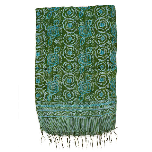 Green Colour Flower Printed 100% Silk Scarf (Size 150x45 Cm)
