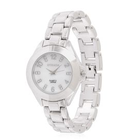 STRADA Japanese Movement White Austrian Crystal Studded MOP Dial Watch in Silver Tone with Stainless Steel Back