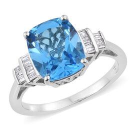 Marambaia Topaz (Cush), Diamond Ring in Platinum Overlay Sterling Silver 7.000 Ct.