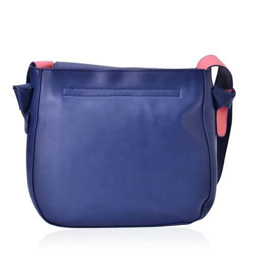 Penny Navy and Pink Colour Shoulder Bag with Shoulder Strap (Size 27x24x8 Cm)