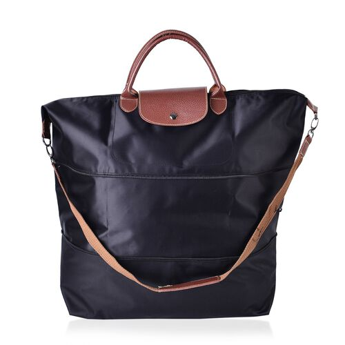 Designer Inspired- Black Colour Foldable Travel Bag with Shoulder Strap (Size 58x52x42x21 Cm)