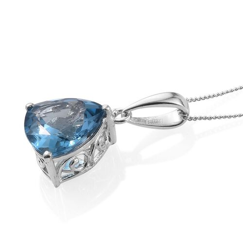 London Blue Topaz (Trl) Solitaire Pendant With Chain in Platinum Overlay Sterling Silver 6.750 Ct.