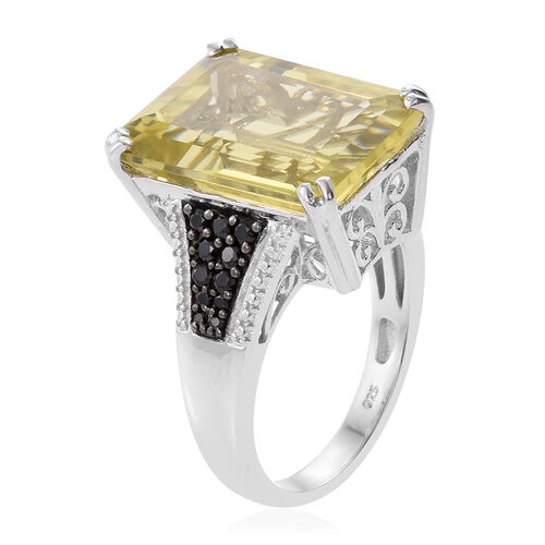 Natural Green Gold Quartz (Oct 15.50 Ct), Boi Ploi Black Spinel Ring in Platinum Overlay Sterling Silver 16.000 Ct.