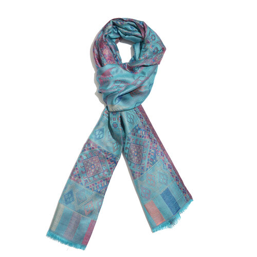Blue, Pink and Multi Colour Paisley and Floral Pattern Jacquard Scarf with Fringes (Size 190X70 Cm)