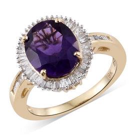 9K Yellow Gold AAA Zambian Amethyst (Ovl 3.15 Ct), Diamond (Bgt 0.45 Cts) Ring 3.600 Ct.