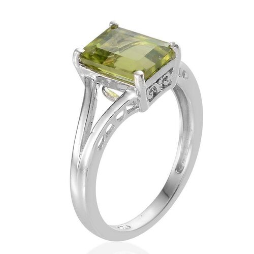AA Hebei Peridot (Oct) Solitaire Ring in Platinum Overlay Sterling Silver 2.000 Ct.