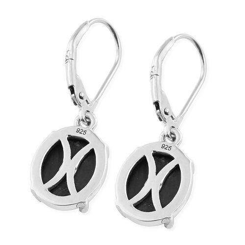Shungite (Ovl) Lever Back Earrings in Platinum Overlay Sterling Silver 5.500 Ct.