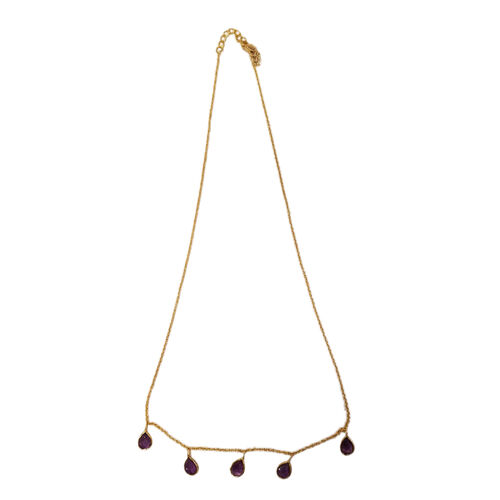 Amethyst (Pear) Necklace (Size 18 with 1 inch Extender) in Yellow Gold Overlay Sterling Silver 2.000 Ct.