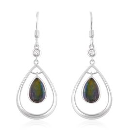 AA Canadian Ammolite (Pear), White Zircon Drop Hook Earrings in Platinum Overlay Sterling Silver 1.850 Ct.