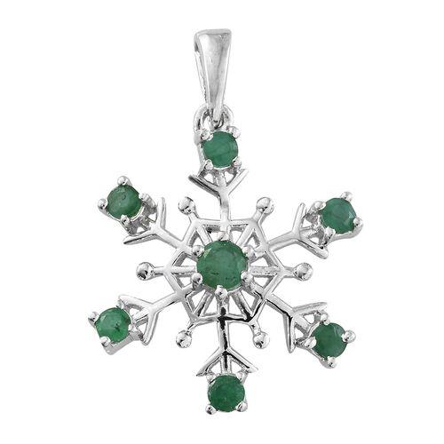 Kagem Zambian Emerald (Rnd) Snowflake Pendant in Platinum Overlay Sterling Silver 0.750 Ct.
