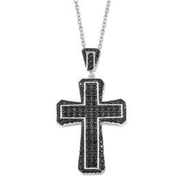 Designer Inspired-Boi Ploi Black Spinel and Natural Cambodian Zircon Cross Pendant With Chain in Rhodium Plated Sterling Silver. 250 Stones Set