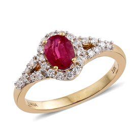 ILIANA 18K Yellow Gold 1 Carat Pigeon Blood AAAA Burmese Ruby and Diamond SI G-H Ring