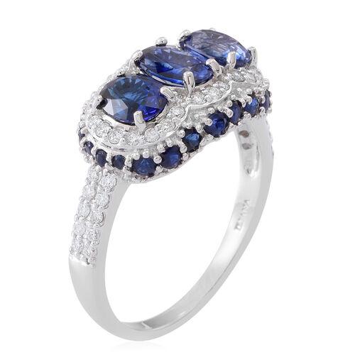 ILIANA 18K W Gold AAAA Ceylon Sapphire (Ovl), Diamond (SI/GH) Ring 4.150 Ct.