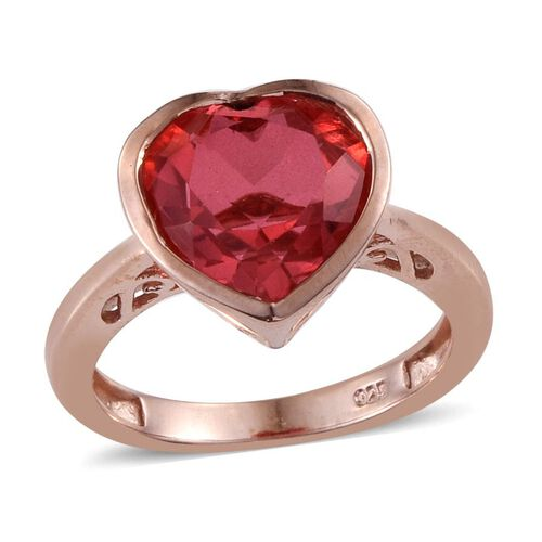 Padparadscha Quartz (Hrt) Solitaire Ring in Rose Gold Overlay Sterling Silver 3.500 Ct.