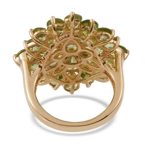 AA Hebei Peridot (Pear) Floral Ring in 14K Gold Overlay Sterling Silver 9.000 Ct.