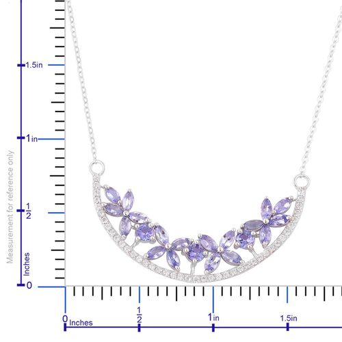 Designer Inspired-Tanzanite (Rnd), White Zircon Floral Necklace (Size 18) in Platinum Overlay Sterling Silver 4.250 Ct.