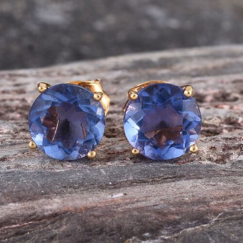 Chinese Blue Fluorite (Rnd) Stud Earrings in 14K Gold Overlay Sterling Silver 3.000 Ct.