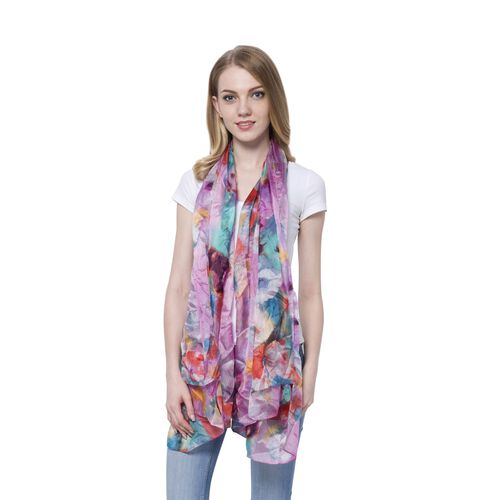 100% Mulberry Silk Red, Blue and Multi Colour Floral Pattern Scarf (Size 170x110 Cm)