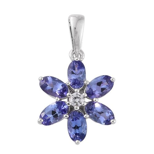9K White Gold 1.49 Ct AA Tanzanite Flower Pendant with Natural Cambodian Zircon