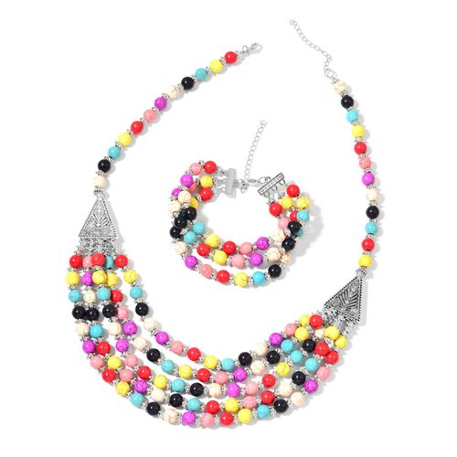 Multi Colour Howlite Necklace (Size 20 with 2 inch Extender) and Bracelet (Size 7.5 with 2 inch Extender) 740.00 Ct.