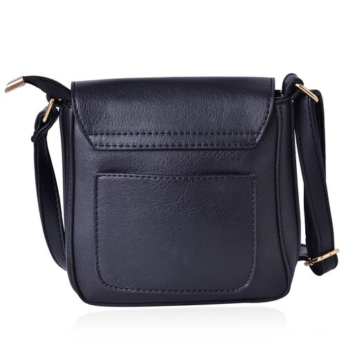 Black Colour Small Size Crossbody Bag With Adjustable Shoulder Strap (Size 18x18x5 Cm)
