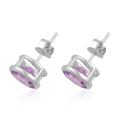 Rose De France Amethyst (Rnd) Stud Earrings (with Push Back) in Platinum Overlay Sterling Silver 3.000 Ct.
