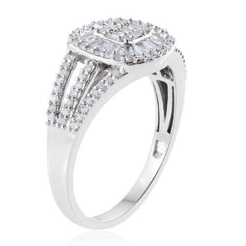 Diamond (Bgt) Ring in Platinum Overlay Sterling Silver 0.750 Ct.