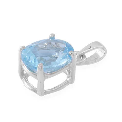 (Option 1) AAA Sky Blue Topaz (Ovl) Solitaire Pendant in Sterling Silver 4.500 Ct.