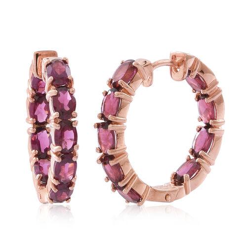 Rhodolite Garnet (Ovl) Hoop Earrings (with Clasp Lock) in Rose Gold Overlay Sterling Silver 10.000 Ct.