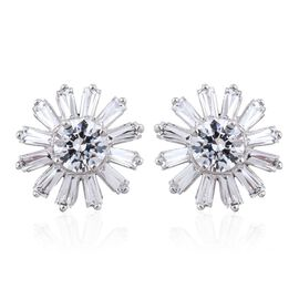 J Francis - Platinum Overlay Sterling Silver (Rnd) Floral Stud Earrings (with Push Back) Made with SWAROVSKI ZIRCONIA