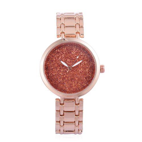 GENOA Red Swarovski Crystal Watch in Rose Gold Tone