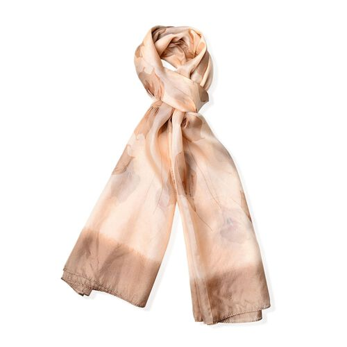 100% Mulberry Silk Apricot and Brown Colour Calla Lily Printed Scarf (Size 180X110 Cm)