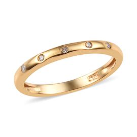 Diamond Stacker Button Band Ring in Gold Plated Silver