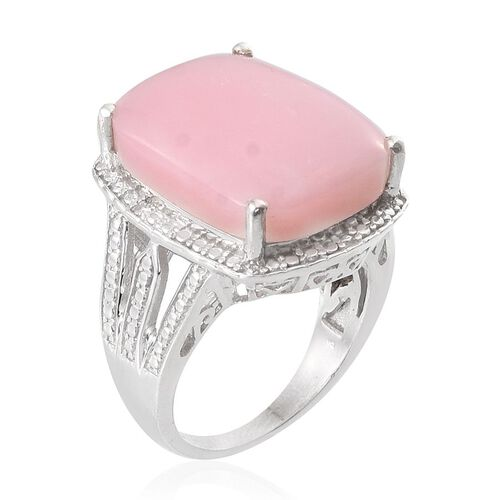 Peruvian Pink Opal (Cush 14.25 Ct), Diamond Ring in Platinum Overlay Sterling Silver 14.270 Ct.