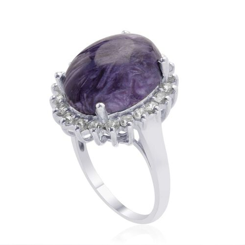 Russian Charoite (Ovl 8.00 Ct) White Topaz Ring in Platinum Overlay Sterling Silver  9.000 Ct.