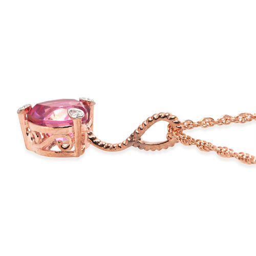 Mystic Quartz (Hrt), Natural Cambodian Zircon Heart Pendant with Chain in Rose Gold Overlay Sterling Silver 1.437 Ct.