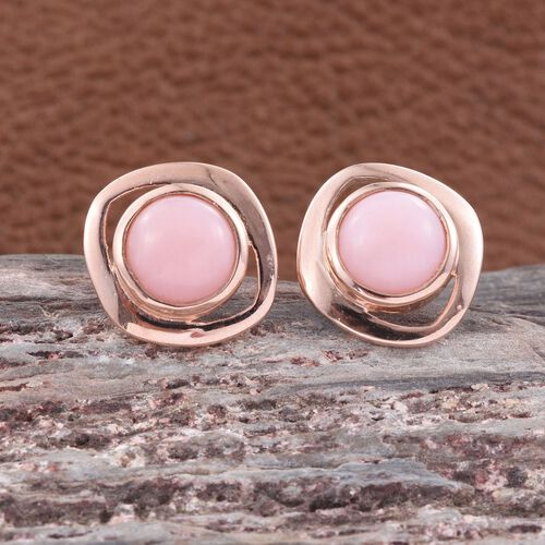 Natural Peruvian Pink Opal (Rnd) Stud Earrings (with Push Back) in Rose Gold Overlay Sterling Silver 3.000 Ct. Silver wt 4.11 Gms.