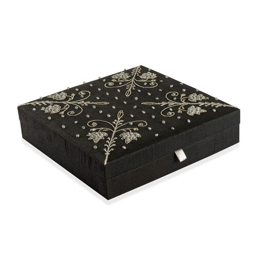 Plant Hand Embroidered and Beads Embellished Black Colour 100 Slot Ring Box (Size 25.5X25.5X6 Cm)