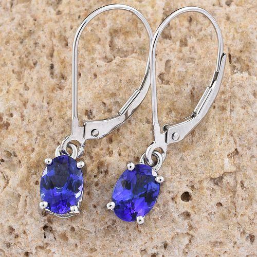 RHAPSODY 950 Platinum AAAA Tanzanite (Ovl) Lever Back Earrings 1.500 Ct.