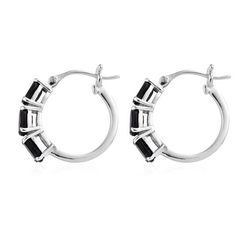 Black Tourmaline (Ovl) Hoop Earrings (with Clasp) in Platinum Overlay Sterling Silver 3.000 Ct.