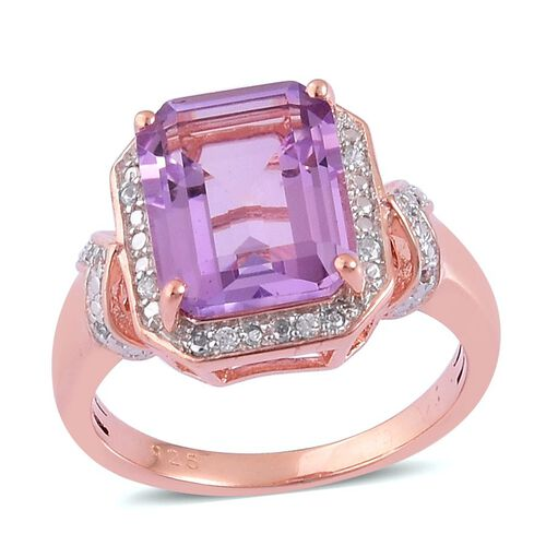 Rose De France Amethyst (Oct 3.75 Ct), White Zircon Ring in Rose Gold Overlay Sterling Silver 3.850 Ct.
